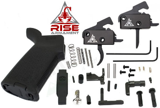 RISE Armament MOE AR-15 Lower Parts Kit - 3.5lb - Various Colors - RISE Armament RA-140-AWP-BLK - 3.5lb trigger